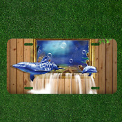 Custom Personalized License Plate Auto Tag With Whales And Dolphins Swimming