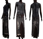 ❤️jean Paul Gaultier Jeans Vintage 90long Weird Knit Dress Print With X-rays