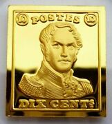 Belgium 10 Centimes Stamp 1849 Leopold 24 Kt Gold Plated On Silver Proof No2