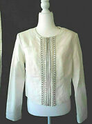 Faux Leather Zip Jacket With Pearls And Silver Chain Trim Sz. Med By Dress Barn