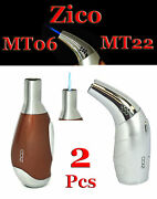2 Pcs Zico Ergonomic Grip Refillable Torch Lighter Mt22 Silver And Mt06 Brown