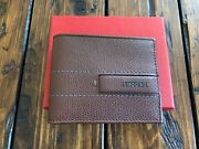 Ferrari Brown Leather Mens Wallet Collectible Made In Italy Brand New In Box