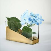 6 Pcs 4 Tall Clear With Gold Spray Glass Rectangular Vases Wedding Centerpieces