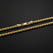 Gold Chain Rope Necklace Yellow 16 - 30 Solid 10k 4mm Men Women Diamond Cut Rope