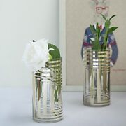 6 Pcs 10 Tall Clear With Gold Stripes Glass Cylinder Vases Wedding Centerpieces