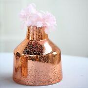 6 Pcs 8 Tall Rose Gold Tapered Neck Mercury Glass Vases Wedding Centerpieces