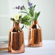 6 Pcs 9 Tall Rose Gold Tapered Neck Mercury Glass Vases Wedding Centerpieces