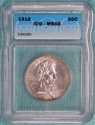 1918 Ms-66 Lincoln Uncirculated Classic Commemorative Half 100058 Minted