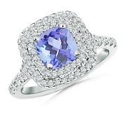 Cushion Tanzanite Double Halo Ring With Diamond Accents In Gold/platinum