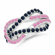 Encrusted Pink And Blue Sapphire Infinity Knot Ring In 14k Gold/platinum