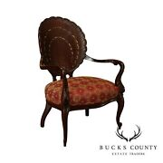 French Rococo Antique Mahogany Mother Of Pearl Inlaid Clam Shell Carved Armchair