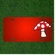 Custom Personalized License Plate With Add Names To Mushroom Red Cartoons