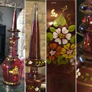 """Huge 20"""" Czech Bohemian Moser Ruby Flashed Decanter Foral Enamel Spire Stopper🎁"""