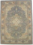 Muted Blue Antique Style Distressed 10x14 Wool Oriental Area Rug Carpet