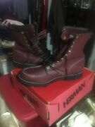 Mens Vintage Herman Leather Uppers Boots Size 14d Oxblood Red 7120 New