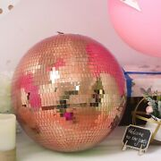16 Wide Rose Gold Glass Mirror Disco Ball Ornament Wedding Events Decorations