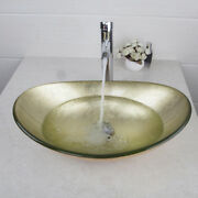 Hand Made Oval Bath Bathroom Tempered Glass Vessel Sink Faucet And Drain Combo