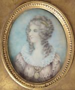 19th Century Oil Painting On Bone, Portrait Of Woman In 18th Century Costume