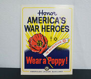 Wwii American Legion Poppy Poster Collectible World War 2 Remembrance Print Rare