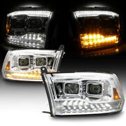 For 09-18 Dodge Ram Led Swithback Turn Signal Drl Dual Projector Headlight Lamp