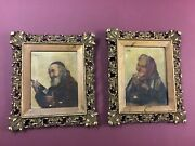Pair Antique Oil/canvas Portraits Signed Caldei Early 1800's Great Frames