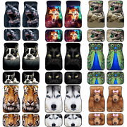 Universal Fit Car Floor Mats For All Weather Rubber Back Animal Design 2/4 Pcs