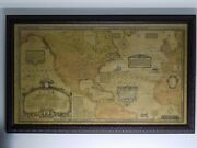 1928 Wall Map Charles Lindbergh Flights Airplane Propellervery Rare Unfolded