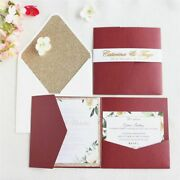 Wedding Invitation With Glittery Rose Envelop Belly Band Tri-folding Invitations