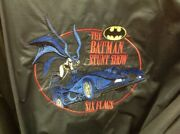 Vintage 90s Batman Stunt Show Six Flags Baseball Style Jacket Size S Embroidered