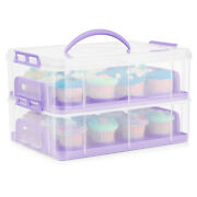 Cupcake Carrier Holder Container Box Plastic Storage Basket Courier Purple
