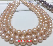 Aaaaa 4812-13mm Natural Real Round South Sea Pink Purple Pearl Necklace 14k