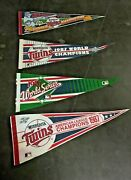 Lot Of 4 Vintage Minnesota Twins 87 And91 World Series Champs 30'' Pennants Orig