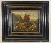 Antique European Old Master Oil Painting Farmer With Bull Cows Steer Unsigned