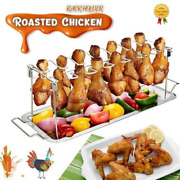Roasted Chicken Wing Leg Rack Grill Holder With Drip Pan For Bbq Stainless Steel