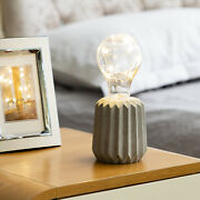 Led Light Modern Lamp Table Cement Lamp Room Bulb Battery Operated