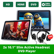 Active 2x Hdmi 10 Lcd Car Headrest Monitor Dvd/usb Player Game Kids Headsets O