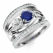 Natural Diamond And Blue Sapphire Vintage Wedding Engagement Ring 14k White Gold
