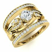 Natural Diamond And Topaz Vintage Wedding Engagement Ring Set In 14k Yellow Gold