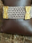 Alix And Company Sterling Silver 18k And 22k Yellow Gold Wide Mesh Bracelet