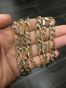 30 8.5mm 45 Grams 10k Yellow Real Gold Diamond Cut Figaro Chain Necklace Mens