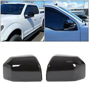 For 15-20 F150 Mirror Cover Skull Cap Replacement Painted Glossy Black