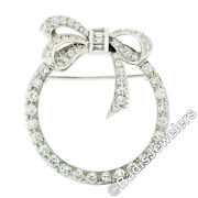 Antique Art Deco Platinum Round And Baguette Diamond Ribbon Bow Wreath Brooch Pin