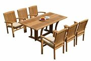 A-grade Teak 7pc Dining Warwick Folding Rect Table Wave Stacking Arm Chairs Set