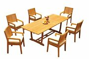 A-grade Teak 7pc Dining 94 Mas Rectangle Table Maldives Arm Chairs Set Outdoor