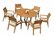 A-grade Teak 7pc Dining 60 Round Table 6 Vellore Stacking Arm Chairs Set Patio