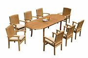 A-grade Teak 9pc Dining 94 Oval Table 8 Wave Stacking Arm Chairs Set Outdoor