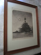 Ronald Ruble Original Etching Pines Landscape With Tree 74/250 1978 Surreal