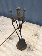 Vtg Antique Solid Brass And Iron Fireplace Tool Set 4 - Poker Shovel Tongs Stand