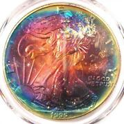 1995 Toned American Silver Eagle Dollar 1 Ase - Pcgs Ms67 - Rainbow Toning Coin