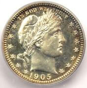 1905 Proof Barber Quarter 25c Coin - Certified Icg Pr65 Pf65 - 1470 Value
